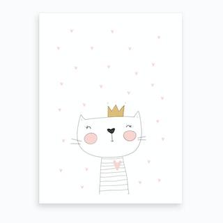 Scandi Cute White Cat With Hearts Art Print