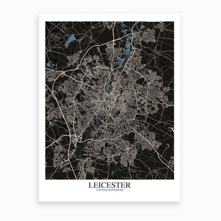 Leicester Black Blue Map Art Print