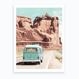 Boho Van In The Desert Art Print