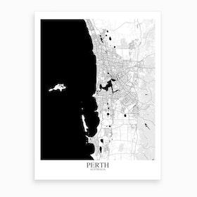 Perth White Black Map Art Print