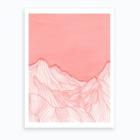 Lines In The Mountains   Pink Art Print