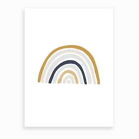 Scandi Nursery Rainbow  Blue, Mustard & Pink  Art Print