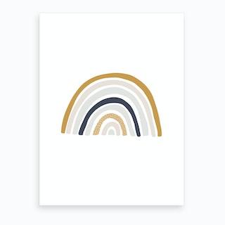 Scandi Nursery Rainbow  Blue, Mustard & Pink  Art Print