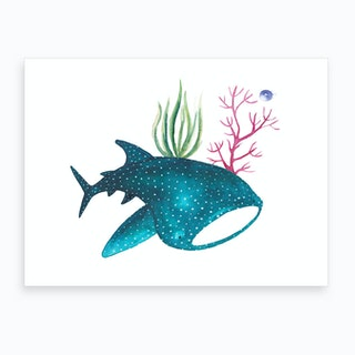 Whale Shark With Corals Art Print