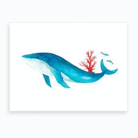 Blue Whale With Coral Art Print