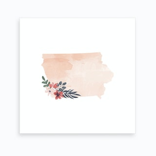Iowa Watercolor Floral State Art Print