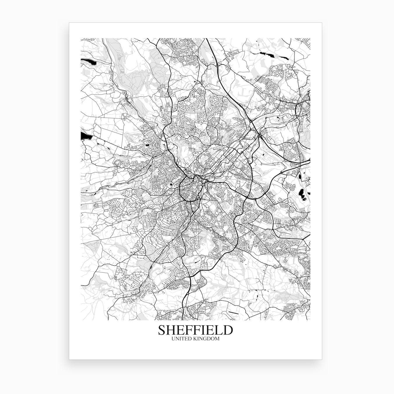 Map Of Uk Black And White.Sheffield White Black Map Art Print