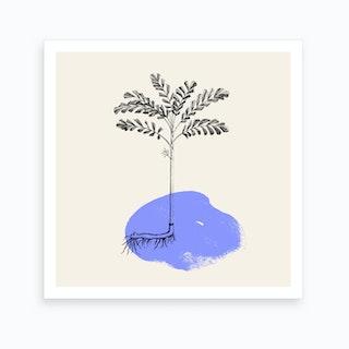 Tropical Tree Light Blue Art Print