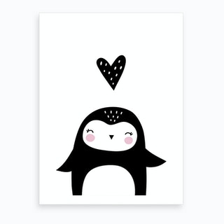 Scandi Penguin With Heart Art Print