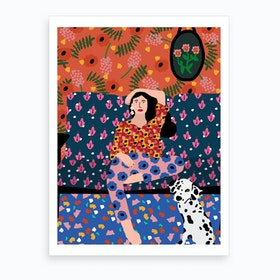 Girl In The Sofa Art Print