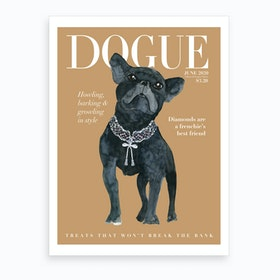 Fashion Frecnhie Dogue Cream Art Print