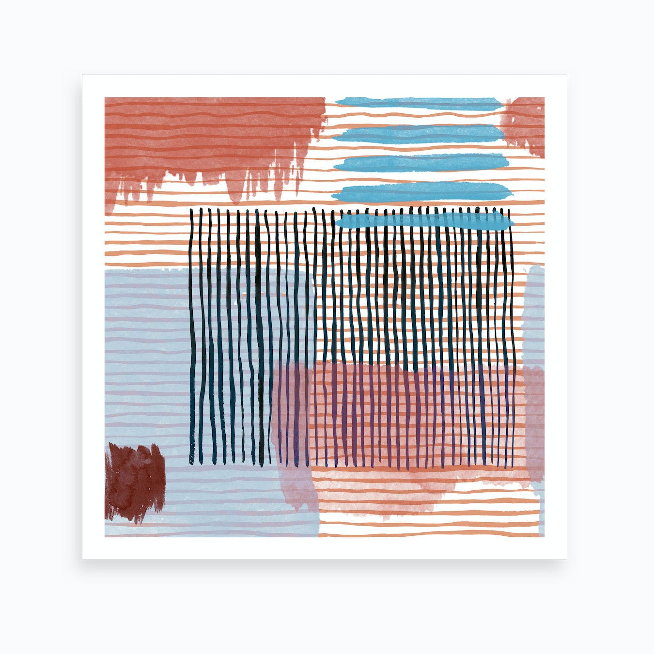 Green Orange Red Stripes Giclee Canvas Colourful Abstract Wall Art Picture