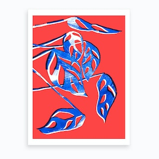 Monstera Obliqua In Red And Blue Art Print