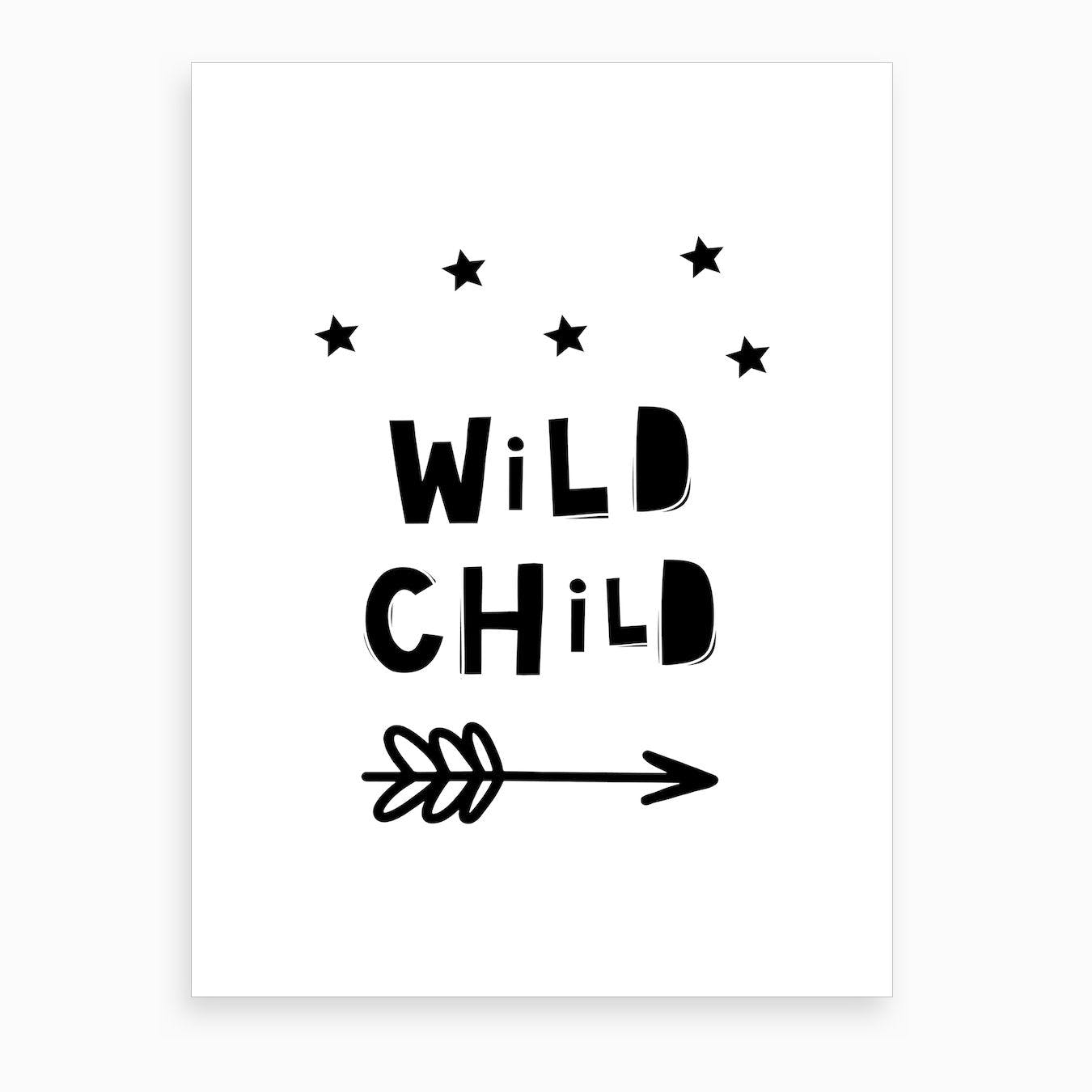 Scandi Wild Child Stars And Arrow Art Print
