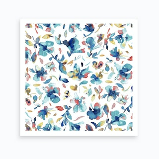 Watery Hibiscus Blue Gold Art Print