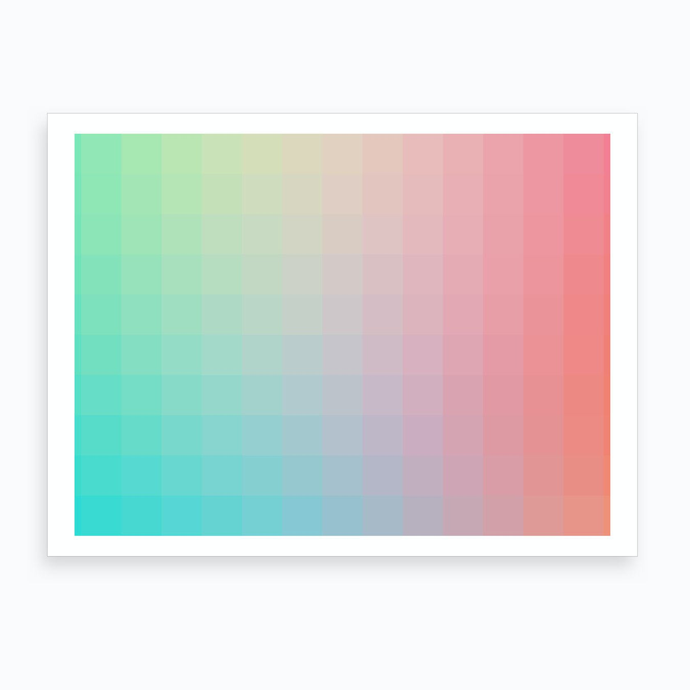 Lumen 01, Pink and Teal Gradient Art Print