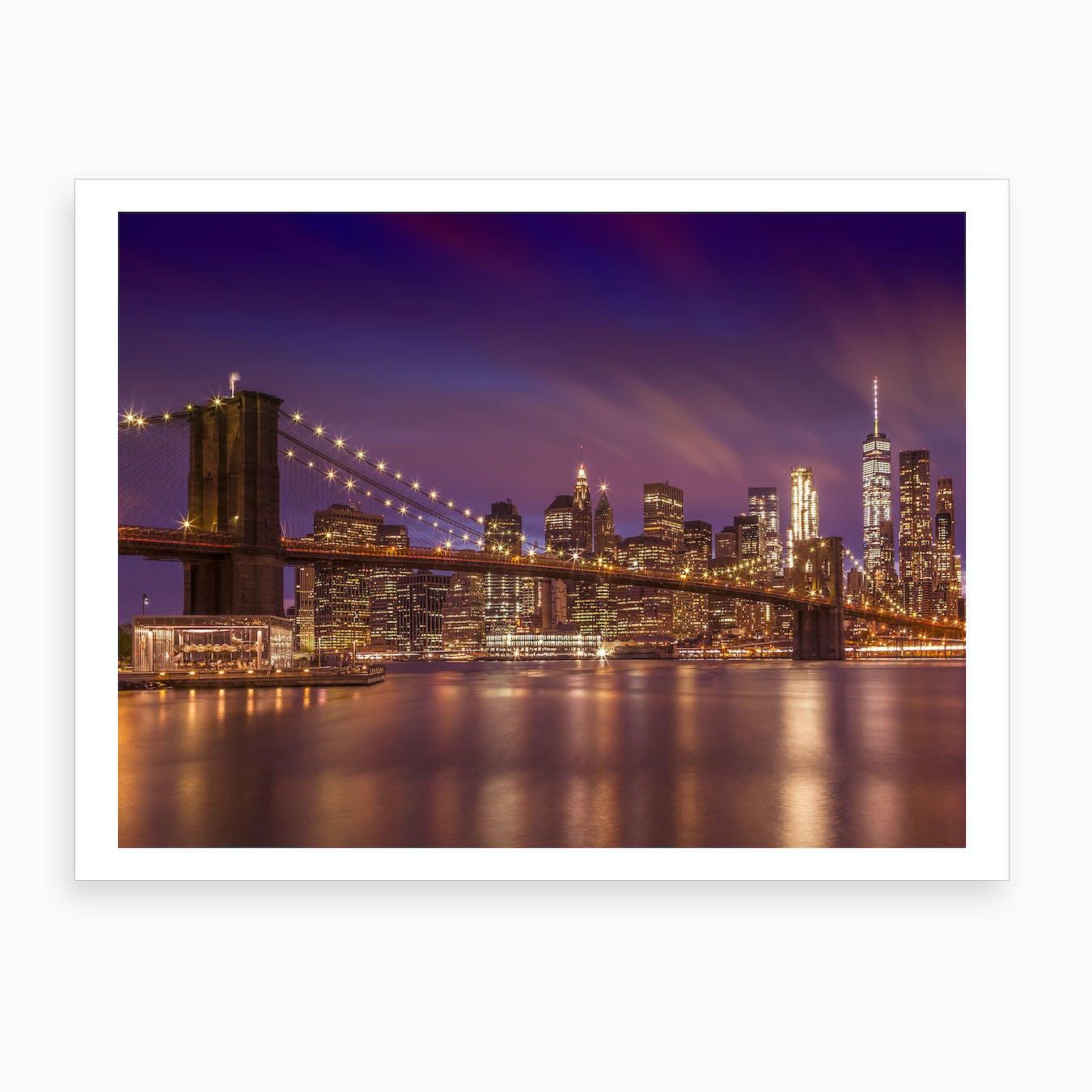 Brooklyn Bridge New York City Sunset Art Print