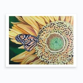 Butterfly&Sunflower Art Print