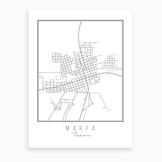 Marfa Texas Street Map Art Print