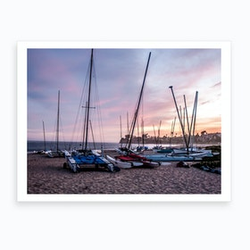 Santa Barbara Sunset Sailboats Art Print