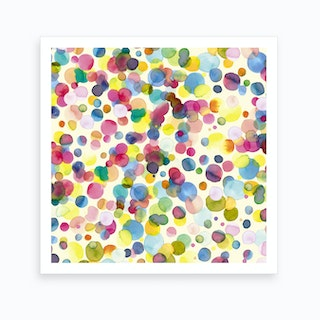 Watercolor Colorful Drops Art Print