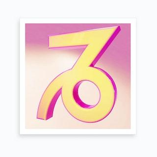 Zodiac Pink And Yellow Sign Capricorn Art Print