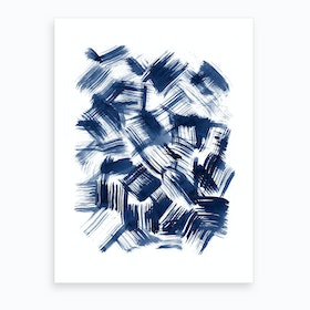 Blue Brush Strokes Art Print