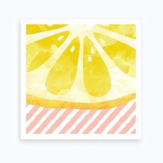 Lemon Abstract Square Art Print