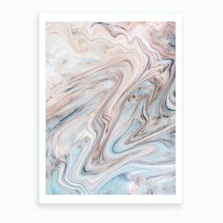 Brown Blue Marble Art Print