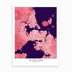 Auckland Pink Purple Map Art Print