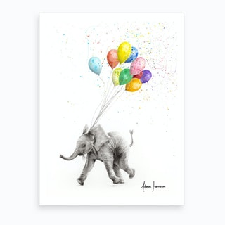 The Elephant And The Balloons Art Print