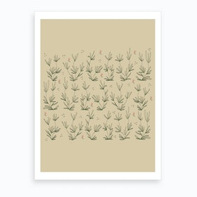 Desert Sand With Coral Blooms Art Print