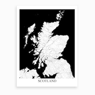 Scotland White Black Map Art Print