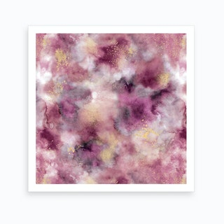 Smoky Marble Watercolor Pink Square Art Print