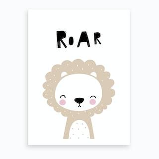 Scandi Roar Beige Lion Art Print