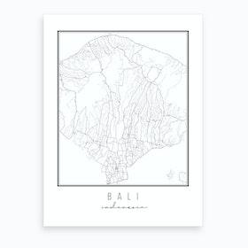 Bali Indonesia Street Map Art Print