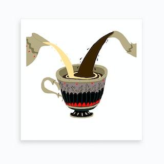 Tea Cup Grey Art Print