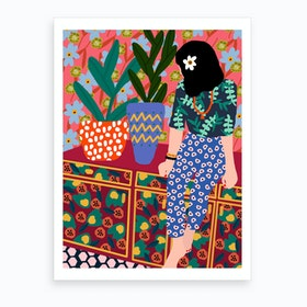 Hawaiian Girl On A Balcony Art Print