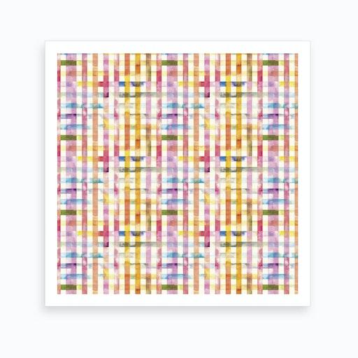 Gingham Vichy Yellow Square Art Print