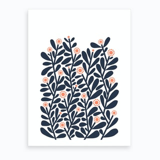 Blue Shrubbery Art Print
