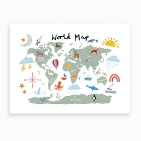 World Map In Green Art Print