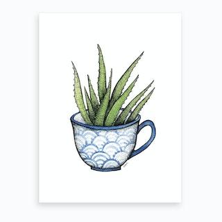 Succulent In A Blue Cup  Art Print