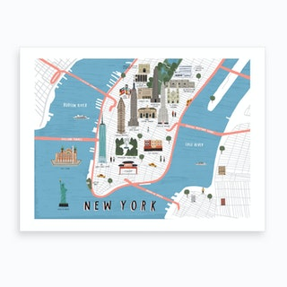 New York Map Print Art Print