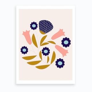 Dark Blue And Pink Retro Flower Composition Art Print
