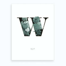 Flower Alphabet W Art Print