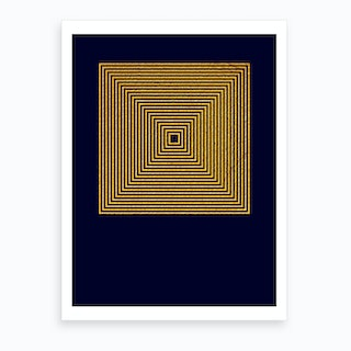 Parallel Gold Square Art Print