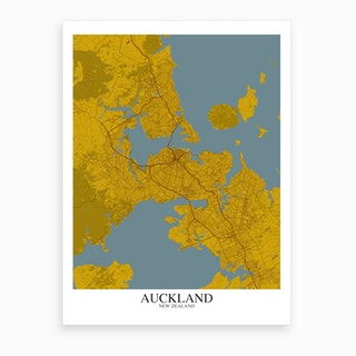 Auckland Yellow Blue Map Art Print