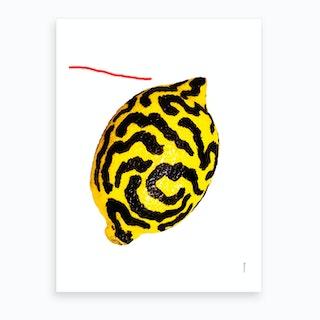 The Lemon On White Art Print