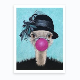 Ostrich With Bubblegum Art Print