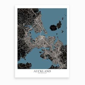 Auckland Black Blue Map Art Print